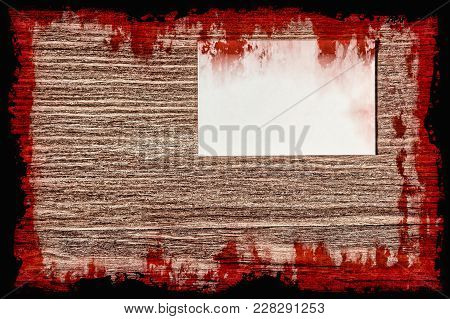 Halloween Background.bloody Suicide Note On Grunge Background With Black Frame.