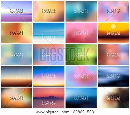 Big Set Of 20 Horizontal Wide Blurred Nature Backgrounds. With Various Quotes. Sunset And Sunrise Se