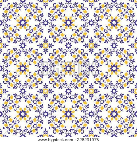 Vector Of Moroccan Tile Violet Yellow Seamless Pattern For Design, Background, Banner. Spanish Eleme