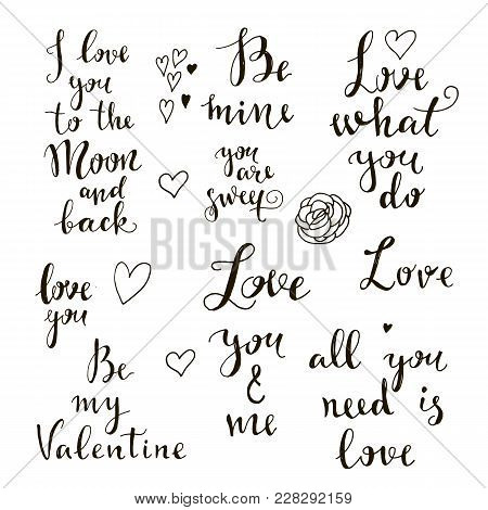 Handrawn Romantic Lettering.hand Drawn Typography Poster.for Gift  Card, Invitation,  Valentines Day