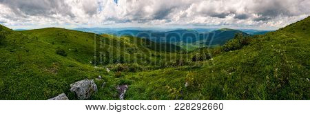 Grassy Hillside Of Carpathians On Overcast Day. Gorgeous Panorama With Rolling Hill And Mountain Rid