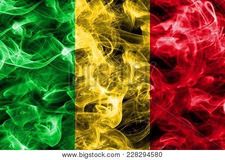 Mali Smoke Flag Isolated On A Black Background