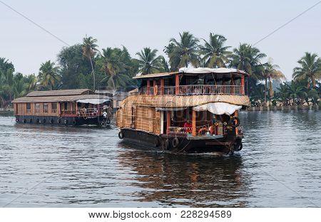 Kerala, India - November 6, 2016: Houseboat Floating On Backwaters In Kerala, South India