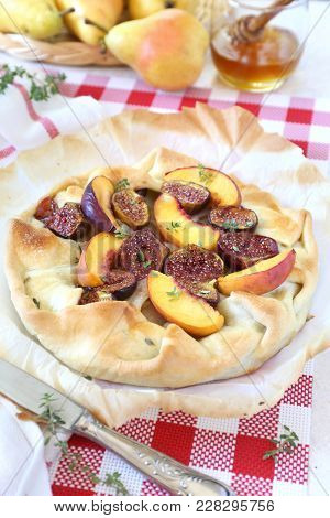 Summer Dessert. Homemade Figs, Nectarine And Pears Tart Galette With Honey