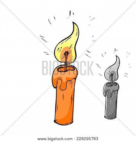Christmas Candle Icon. Candle Doodle Logo . Stock Vector