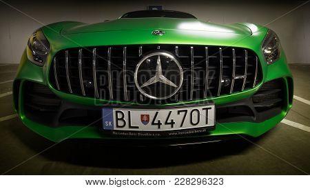 Zilina, Slovak Republik / Slovakia - November 09 , 2017: Native Green Colour Mercedes-amg Gt R Coupe