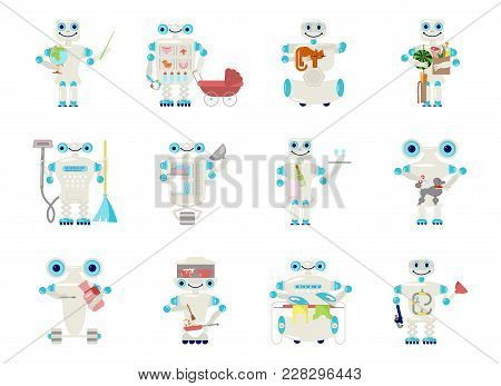 Set Of Home Robot For Housework - Repair, Cleaning, Cleaner Sweeping, Cooking And Laundry. Cute Bot