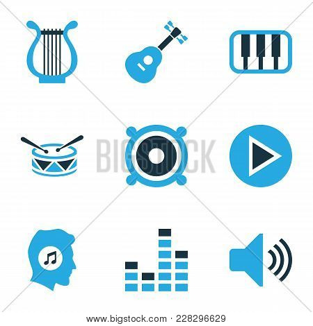 Music Icons Colored Set With Megaphone, Meloman, Sound And Other Piano Elements. Isolated Vector Ill