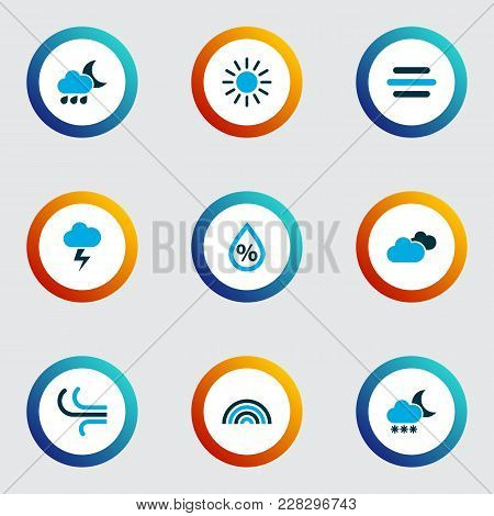 Air Icons Colored Set With Overcast, Snowfall, Breeze And Other Blizzard Elements. Isolated Vector I