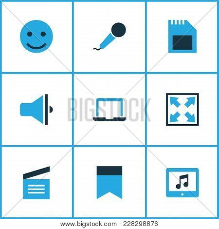 Multimedia Icons Colored Set With Sd Card, Karaoke, Widen And Other Clapperboard Elements. Isolated