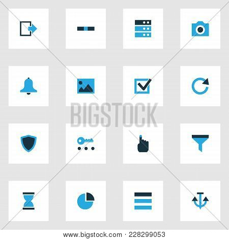 Interface Icons Colored Set With Protect, List, Hourglass And Other Problem Elements. Isolated Vecto