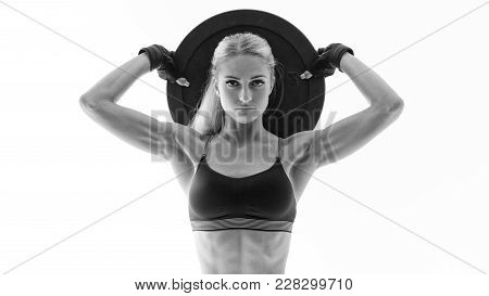 Fit Power Athletic Confident Young Woman Crossfit Exercise With Heavy Weight Barbell Plate Rising Ha