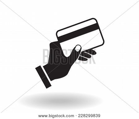 Black And White Flat Vector Icon Hand Holding Credit Card Illustration With Shadow, Concept Of Payin