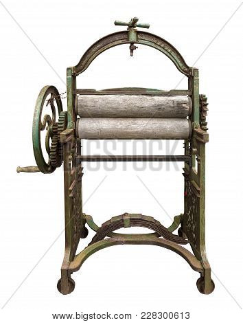 Isolated Vintage Laundry Mangle (press) With Clipping Path On White Background