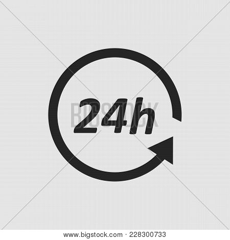 24 Hours Icon. 24 Hours Vector Isolated. Flat Vector Illustration In Black. Eps