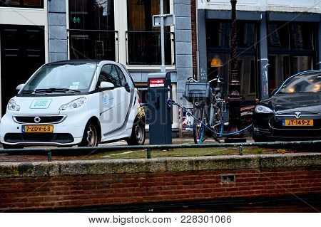 Amsterdam, Netherlands - November 22, 2017: Power Supply For Electric Car Charging. Electric Car Cha