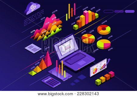 Statistics Presentation With Perfect Statistic Elements And Diagram Rise. Isometric Icons Vector Des