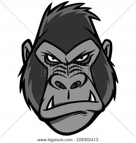 Gorilla Head Illustration - A Vector Cartoon Illustration Of A Gorilla Head Mascot.