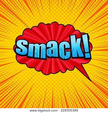 Comic Smack Wording Template With Blue Inscription, Red Speech Bubble, Radial, Dotted And Rays Effec