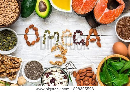 Food Rich In Omega 3 Fatty Acid And Healthy Animal And Planty Fats. Healthy Diet Eating Concept. Top
