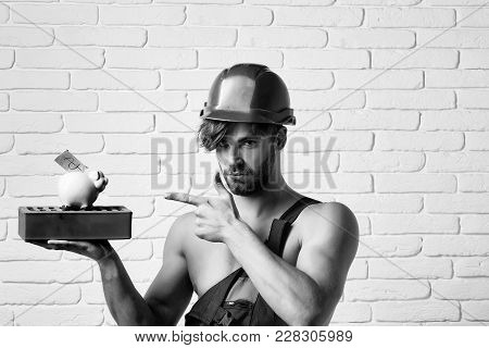Young Handsome Bearded Macho Man Builder With Sexy Muscular Athletic Strong Body Has Strong Hands In