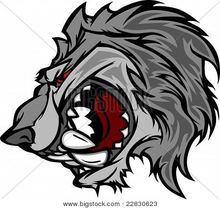 Cartoon Image of a Wolf Mascot Head Snarling poster