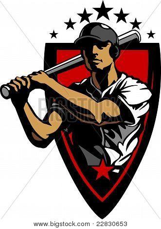 Baseball Player Batting Design Template