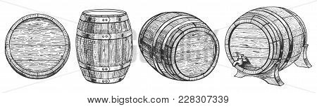 Vector Illustration Of Cask Or Barrel From A Different Angle. Front, Top, Three Quarters Positions.