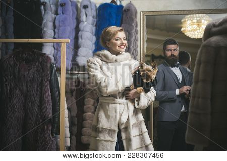 Couple In Love Among Fur Coat With Dog, Luxury. Couple In Love Of Man And Woman With Dog In Fur Coat