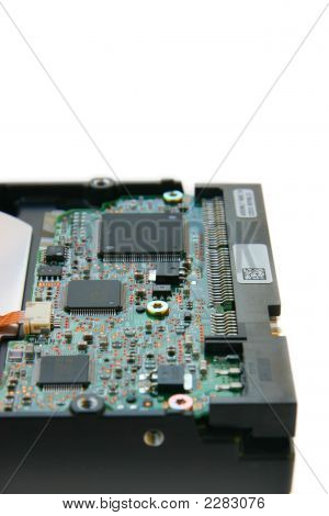 Hard disk side view focus on chips isolated on white background poster