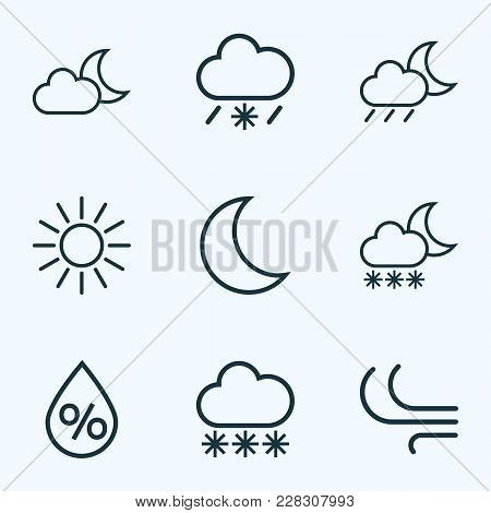 Climate Icons Line Style Set With Sunshine, Snowfall, Wind And Other Breeze Elements. Isolated  Illu