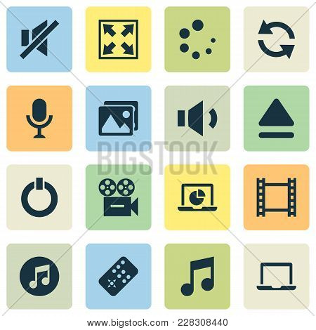 Multimedia Icons Set With Widen, Laptop, Sync And Other Video Elements. Isolated  Illustration Multi