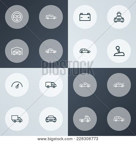 Car Icons Line Style Set With Truck, Automobile, Prime-mover And Other Sedan Elements. Isolated  Ill