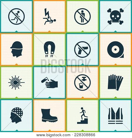 Sign Icons Set With Hand Protection, Headwear, Electrocution Hazard Electromagnetic Elements. Isolat