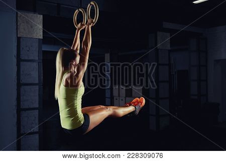 Fitness Woman Exercising On Gymnastic Rings At The Gym Copyspace Achievement Health Power Strength W