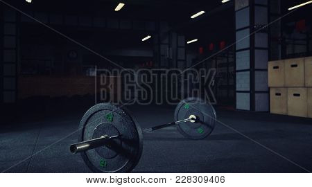 Heavy Barbell On The Floor Of A Gym Studio Copyspace Bodybuilding Weightlifting Crossfit Power Stren