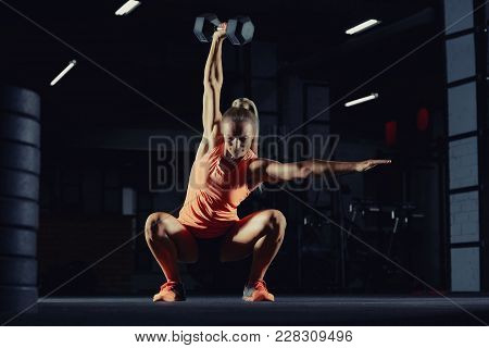 Fitness Sportswoman Exercising At The Gym Doing Overhead Kettlebell Squats Copyspace Motivation Beau