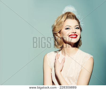 Beauty, Fashion, Cosmetics, Vintage Style. Sensual Blond Girl With Elegant Makeup, Pinup. Makeup And