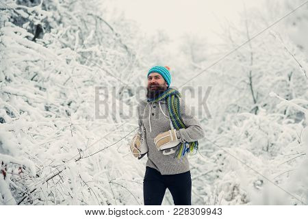 Temperature, Freezing, Cold Snap, Snowfall. Man In Thermal Jacket, Beard Warm In Winter. Bearded Man