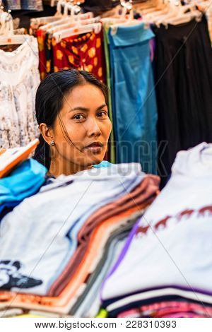 Siem Reap, Cambodia- March 22, 2013: Unidentified Young Khmer Woman In Cambodia. Khmer People Are A