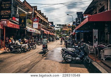 Siem Reap, Cambodia- March 22, 2013: View Of Famous Pub Street In Siem Reap Cambodia At Day. Pub Str