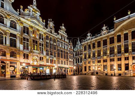Brussels, Belgium - Circa June 2014: Beautiful View Of Grand Place At Nignt, A Famous Tourist Site