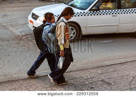 Hurghada, Egypt- February 22, 2010: Unidentified Egyptian Schoolchildren In Street. Egypt Has The La