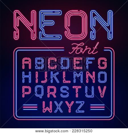 Realistic Neon Glow Alphabet. Vector Neon Typeset On Dark Background.