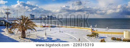 Sochi, Russia - January 26, 2016: Snow On The Black Sea Coast.