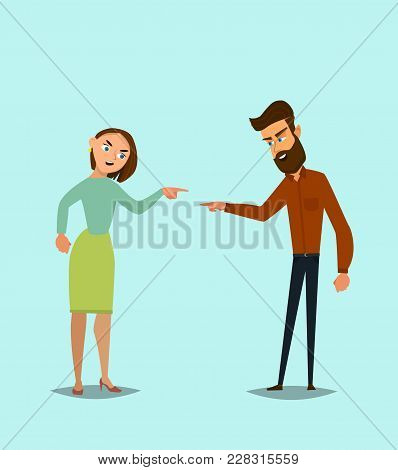 Conflict. A Man And A Woman Quarrel. Vector Illustration In A Flat Style