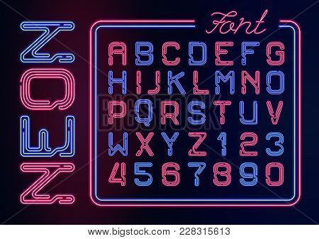 Realistic Neon Alphabet With Neon Numbers. Vector Neon Typeset On Dark Background.