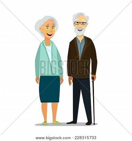 Elderly Couple. Retired Elderly Senior Age Couple. Vector Illustration.