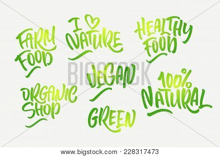 Lettering Set For Natural Products In Green Colors. Handwritten Logo I Love Nature, Organic Shop, Fa