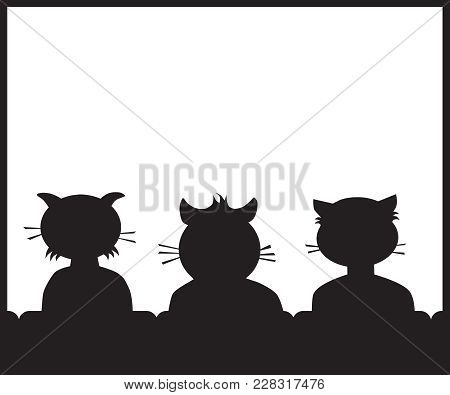 Three Cat Buddies In A Theater Getting Ready To Watch A Movie